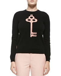 Red Valentino Cashmere Colorblocked Lock And Key Sweater