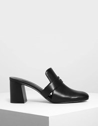 Charles And Keith Block Heel Penny Loafers Black