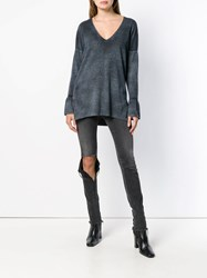 Avant Toi Plunge Neck Knitted Top Blue