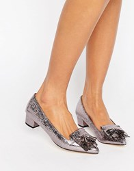 Miss Kg Anita Pewter Mid Heeled Loafers Pewter Synthetic Silver