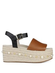 Kenneth Cole Indra Studs Leather Wedge Espadrilles Cognac