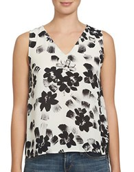 1.State Floral Printed Sleeveless Top Ivory