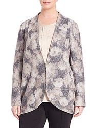 Basler Plus Size Floral Open Knit Long Cardigan Grey