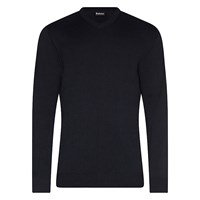 Barbour Pima V Neck Jumper Navy