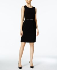 Nine West Belted Sheath Dress Black