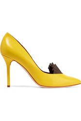 Malone Souliers Adam Lippes Brenda Ruffle Trimmed Leather Pumps Yellow