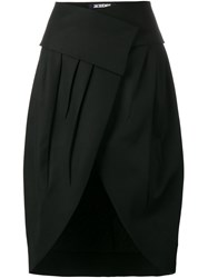 Jacquemus High Waisted Wrap Skirt Wool Black