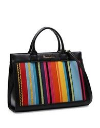 Braccialini Rita Solid And Ornamental Trimmed Satchel Black