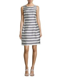 Tommy Hilfiger Striped Fit And Flare Dress Ivory Navy