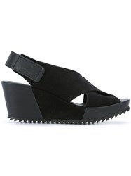 Pedro Garcia Freya Wedge Sandals Women Leather Suede Rubber 36 Black