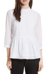 Kate Spade Women's New York Lace Inset Flounce Top White