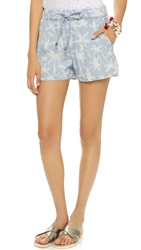 Splendid Pinstripe Palm Tree Shorts Light Wash