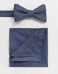 Selected Homme Wedding Bow Tie And Pocket Square Set In Blue Texture Navy
