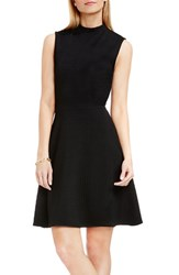 Vince Camuto Women's Houndstooth Jacquard Fit And Flare Dress Rich Black