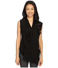 Zobha Sleeveless Asymmetrical Drape Front Flyaway Black Women's Sleeveless
