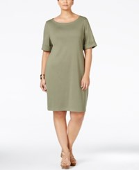 Karen Scott Plus Size Boat Neck T Shirt Dress Only At Macy's Olive Sprig