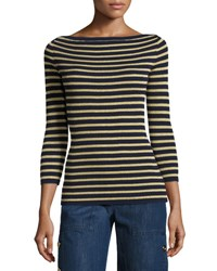 Michael Kors Metallic Stripe Boat Neck Sweater Maritime Gold Maritime Gold