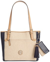 Giani Bernini Contrast Tote Only At Macy's Navy Natural