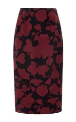 Oscar De La Renta Floral Wool Pencil Skirt Burgundy