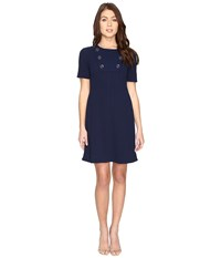 Maggy London Scuba Crepe Elbow Sleeve Fit And Flare Dress Navy Women's Dress