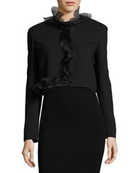 Giambattista Valli Cropped Jacket W Ruffle Trim Black