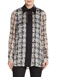 Reed Krakoff Silk Abstract Block Stripe Blouse Black Multi