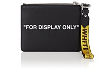 Off White C O Virgil Abloh Flat Double Leather Pouch Black