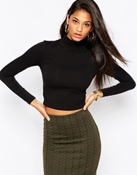 Asos The Turtle Neck Crop Top With Long Sleeves Pack Save 17 Blackblack
