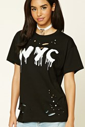 Forever 21 Destroyed Nyc Graphic Tee Black White