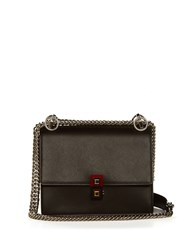 Fendi Kan I Leather Cross Body Bag Black