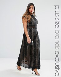 Truly You Panelled Lace Maxi Dress With Cap Sleeve Black