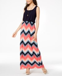 Trixxi Juniors' Printed Skirt Maxi Dress Navy Multi