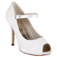 Rainbow Club Nina Lace Platform Peep Toe Shoes Ivory