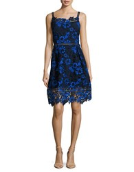 T Tahari Lace Fit And Flare Dress Blue