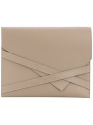Eleventy Envelope Clutch Women Leather One Size Nude Neutrals