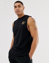 Sik Silk Siksilk Tank With Dropped Arm Hole In Black