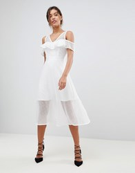 Morgan Frilly Cold Shoulder Full Prom Midi Dress White