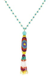 Panacea Crystal Multi Bead Tassel Necklace Turquoise Multi