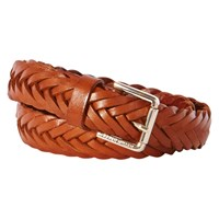 Karen Millen Wide Woven Leather Belt Tan