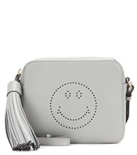 Anya Hindmarch Smiley Leather Crossbody Bag Grey