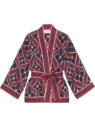 Gucci Kimono Top With Gg Ribbons Print Red