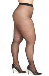 Hanes Plus Size Curves Dot Net Tights Black