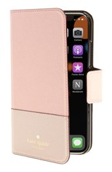 Kate Spade New York Leather Wrap Iphone X Folio Case Pink Warm Vellum Tusk