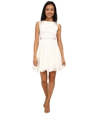 Aidan Mattox Chiffon Party Dress With Lace Illusion Ivory Women's Dress White