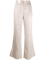 Acne Studios Satin Flared Trousers Grey