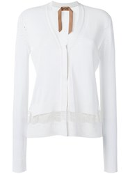 N 21 No21 Lace Insert Cardigan White
