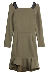 Emilio Pucci Silk Dress With Leather Details Green