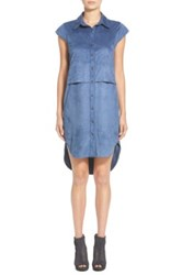 Leith Faux Suede High Low Shirtdress Juniors Blue