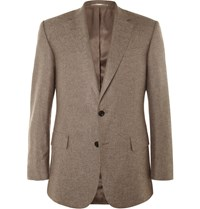 Gieves And Hawkes Brown Slim Fit Silk And Cashmere Blend Blazer