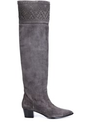 Barbara Bui Studded Tall Boots Grey
